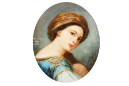 AN OVAL REVERSE CONVEX GLASS PAINTING IN THE MANNER OF AUGUSTUS JULES BOUVIER