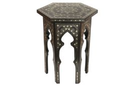 AN OTTOMAN SILVER-WIRE-INLAID WOODEN OCCASIONAL LOW TABLE WITH TUGHRA