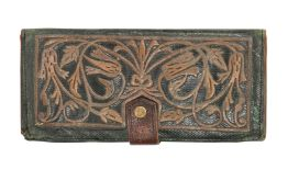 A GREEN LEATHER WALLET WITH METAL THREAD EMBROIDERED TULIPS