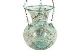 A MAMLUK-REVIVAL ENAMELLED CLEAR GREEN GLASS MOSQUE LAMP