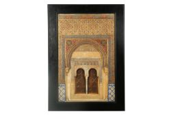A LARGE AND IMPRESSIVE GILT AND POLYCHROME-PAINTED PLASTER RELIEF PLAQUE OF THE ALHAMBRA