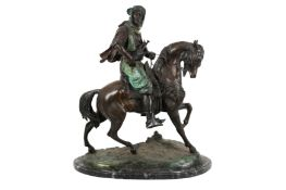 A LARGE LATE 19TH / EARLY 20TH CENTURY PATINATED BRONZE ORIENTALIST FIGURE OF AN ARAB RIDER