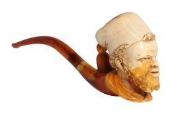 A CASED MEERSCHAUM PIPE WITH A TURKISH PASHA'S HEAD