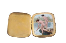 An early 20th century German 935 standard silver and enamel erotic concealed cigarette case,