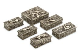 Silver Repousse Lidded Boxes with Erotic Scenes