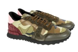 Valentino Green Camouflage Rockstud Trainers - Size 43
