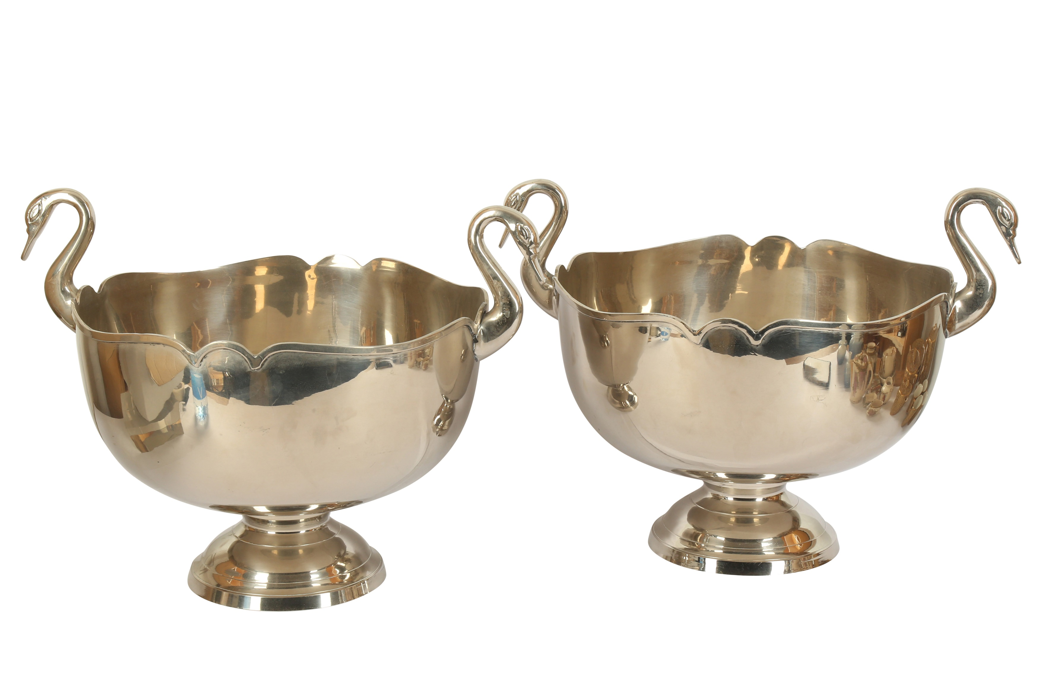 A pair of late 20th century silver plated wine coolers,