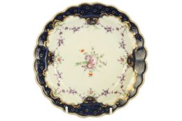 An 18th century Worcester porcelain circular plate, circa. 1770,