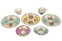 Two late 19th / early 20th century Meissen tea cups and saucers