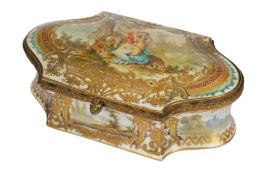 A late 19th/early 20th French porcelain shaped box, in the Sevres style