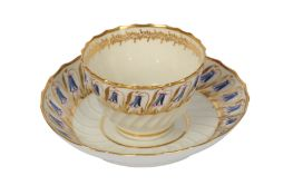 A late 18th century Worcester porcelain tea bowl and saucer