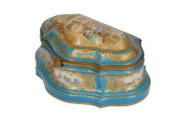 A late 19th/early 20th century French Sevres style shaped porcelain box,