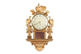 An early 19th Century Swedish carved giltwood wall clock by Beurling,