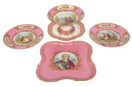 A late 19th/20th century French Sevres style porcelain tray,