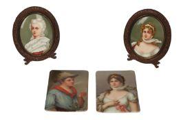 A pair of 19th century German porcelain rectangular plaques
