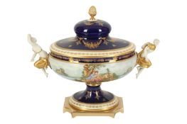 An large Italian Mangami porcelain urn and cover, in the Sevres style, late 20th century,