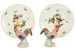 Herend: A pair of Herend porcelain plates, decorated in the Rotheschild pattern,