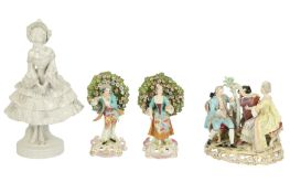 A 20th century Meissen style porcelain figure group of the Music lesson