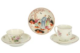 An 18th century Chelsea cup and trembleuse saucer,