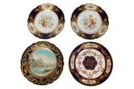 A pair of late 19th/20th century French Sevres style porcelain plates, probably Limoges
