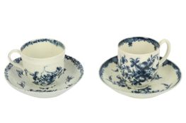An 18th century Worcester porcelain blue and white cup and saucer, circa. 1765,