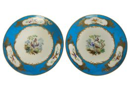 A pair of French 19th century Sevres style porcelain plates