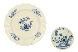 An 18th century Worcester blue and white porcelain saucer, circa.1755,