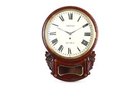 A mid/late 19th century mahogany and brass inlaid drop dial fusee wall clock signed Hatch