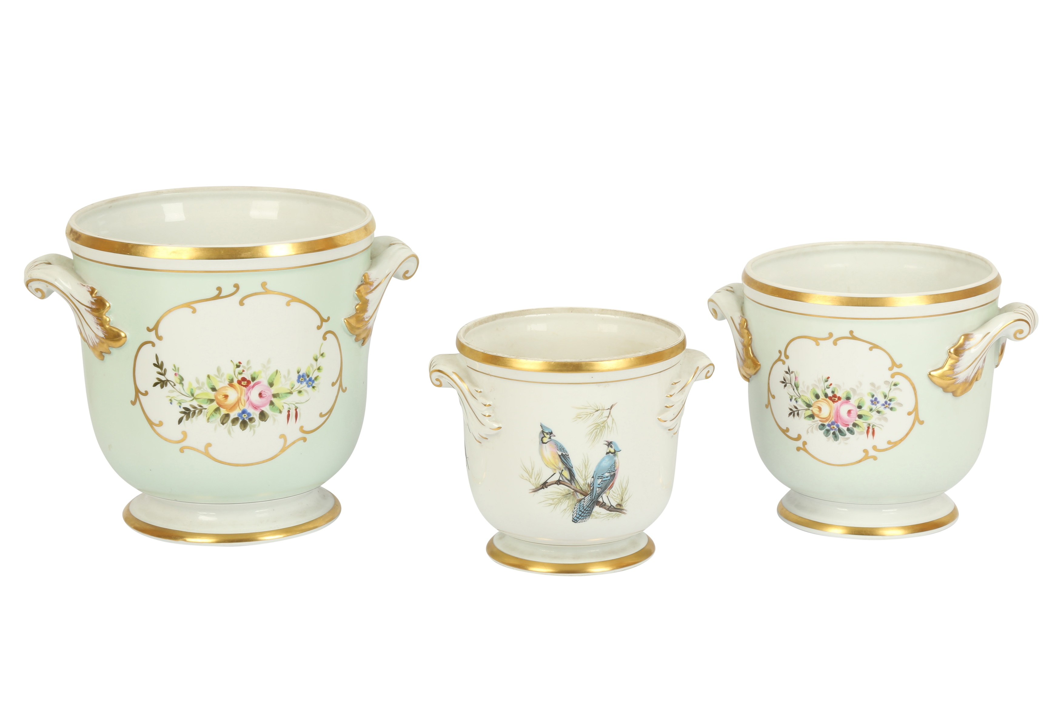 Two porcelain ice buckets by Vista Alegre, retailed by Thomas Goode and Co., in the Sevres style,