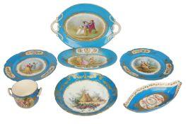 A pair of late 19th/early 20th century Sevres style porcelain plates