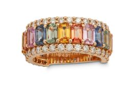 A multi-coloured sapphire and diamond ring