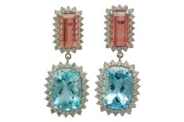 A pair of pink tourmaline, aquamarine and diamond earrings