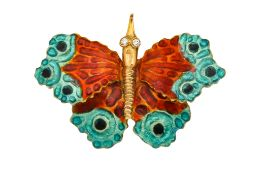 An enamel and diamond butterfly brooch