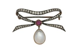 A diamond and moonstone brooch, early 20th century