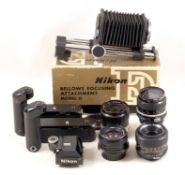 Group of Nikon Fit Lenses, Flash & Bellows etc