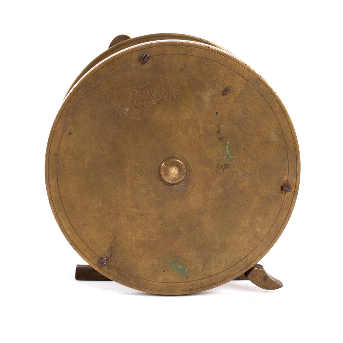 Lot 552 - A Victorian brass fishing reel marked Registered 18 Feby 1856, Fred'k Allies, Worcester,