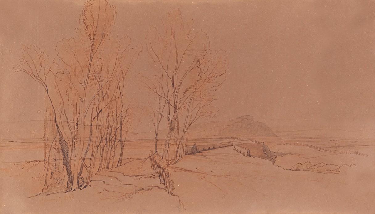 Lot 1051 - Edward Lear (British 1812-1888)/Castel Giulrile Landscape/dated, Jan 7th 1845/brown ink, 21.
