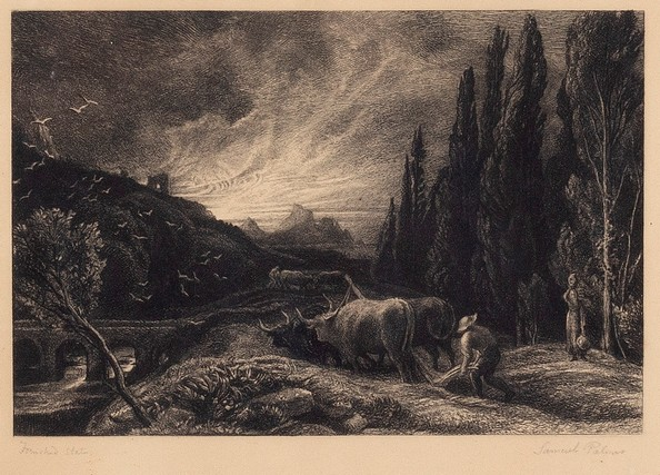 Lot 947 - Samuel Palmer/The Early Ploughman, circa 1861/inscribed Finished State and signed/etching,