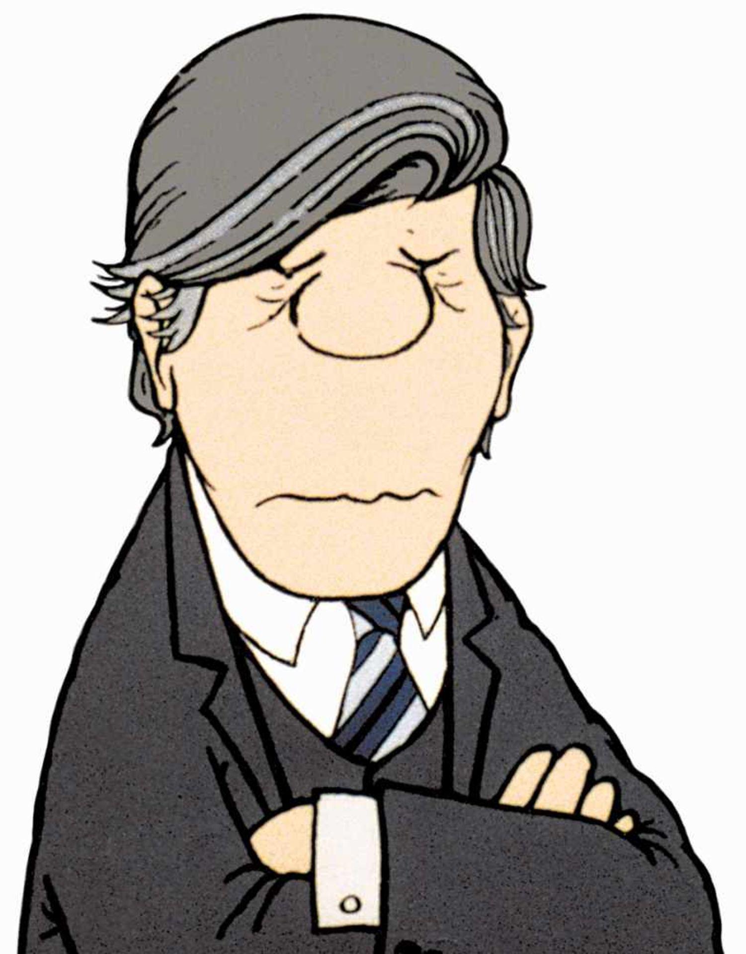 Loriot (1923–2011). Cartoon mit Augenzwinkern. 1992. Farbdigitaldruck 2018. 40 : 30 cm. Gerahmt 50 :
