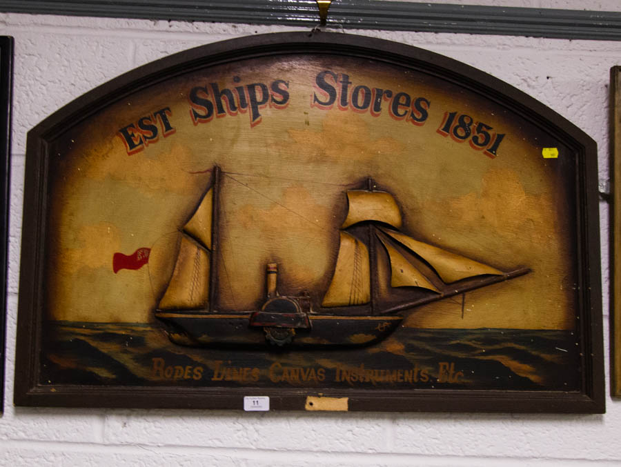 Lot 11 - TIMBER SHIPS STORES PUB ADVERTISEMENT 92 X 61CM