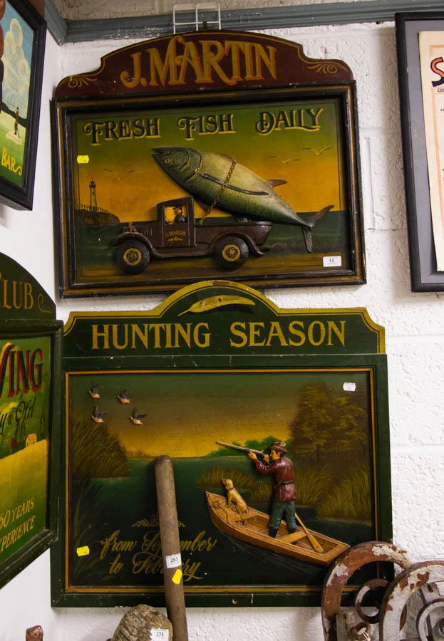 Lot 13 - 2 FRESH FISH + HUNTING SEASON PUB ADVERTISEMENTS 70 X 66CM