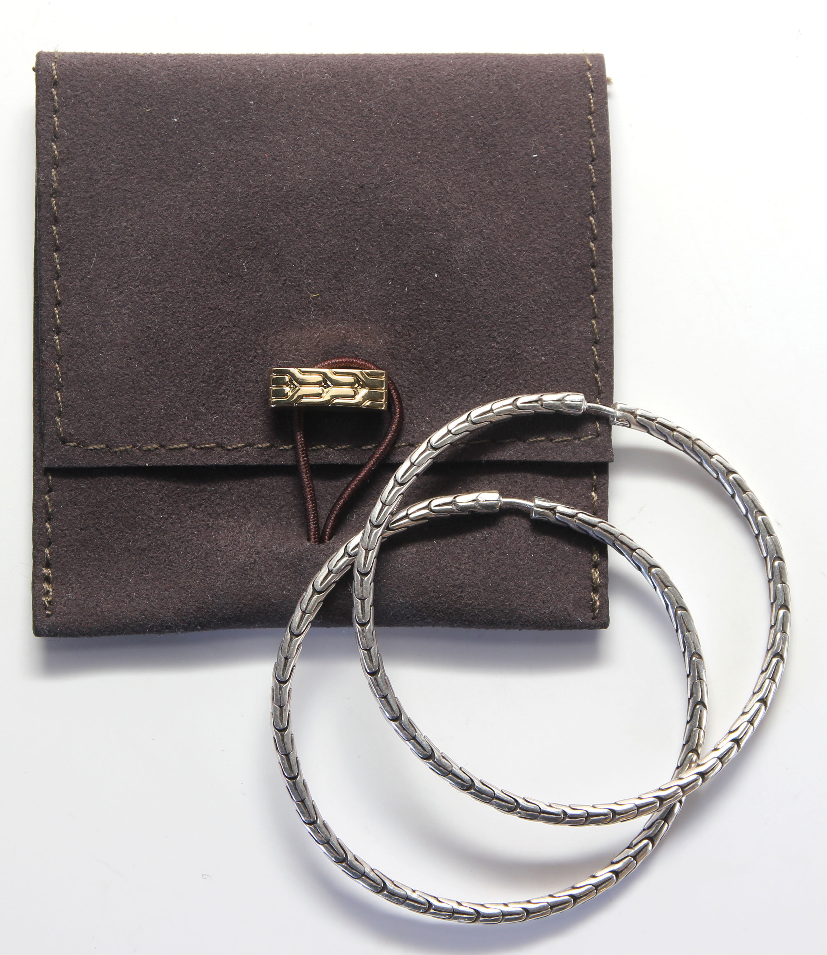 Lot 2881 - Pair of John Hardy sterling silver hoop earrings