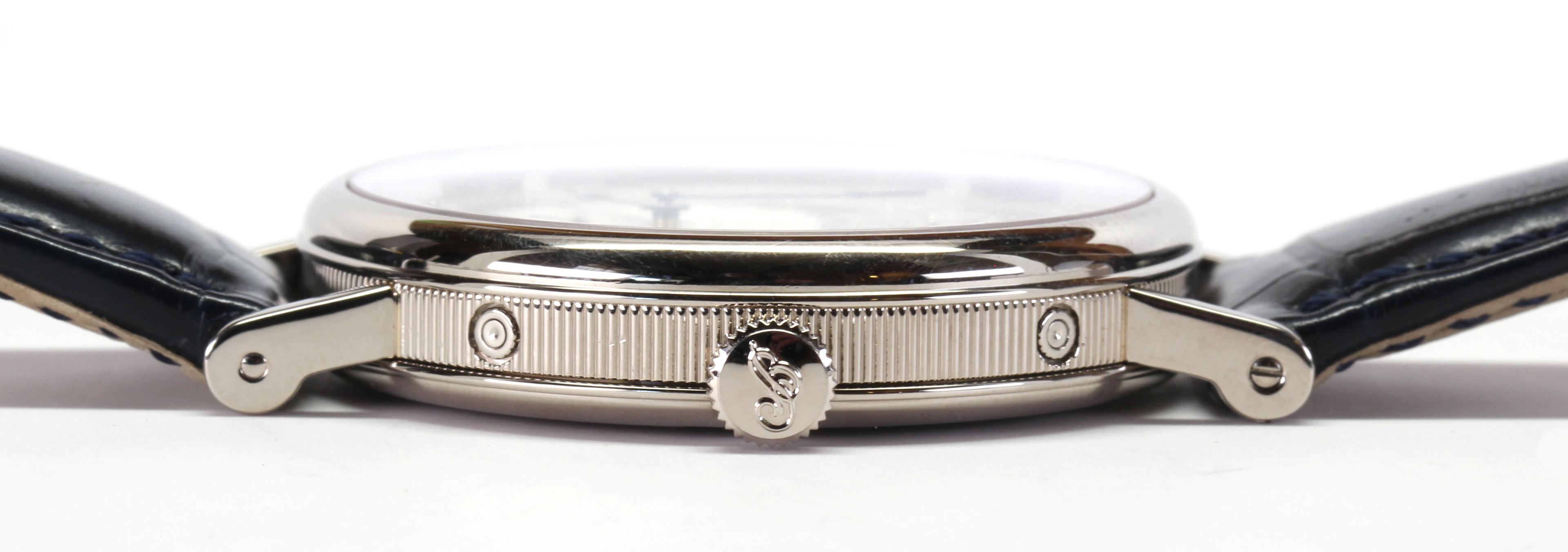 Lot 2879 - Breguet 18k white gold moonphase double calendar wristwatch REF: 7227