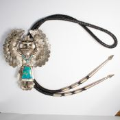 A turquoise and sterling bolo tie, Thomas Byrd