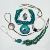 A group of hardstone and silver jewelry