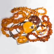 A group of amber jewelry