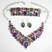 A gemstone and silver suite