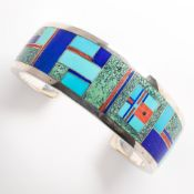 A hardstone inlaid sterling silver cuff bracelet, Ray Tracy