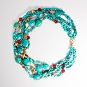 A turquoise bead necklace