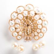 A group of pearl and fourteen karat gold jewelry